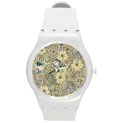 Abstract Art Artistic Botanical Round Plastic Sport Watch (m)