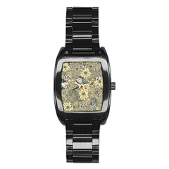 Abstract Art Artistic Botanical Stainless Steel Barrel Watch
