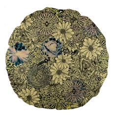 Abstract Art Artistic Botanical Large 18  Premium Flano Round Cushions