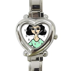 Angry Girl Heart Italian Charm Watch
