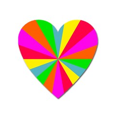 Neon Rainbow Burst Heart Magnet by PodArtist