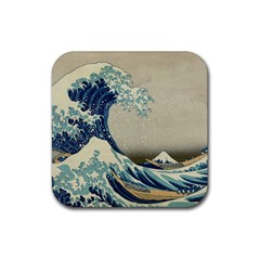 The Classic Japanese Great Wave Off Kanagawa By Hokusai Rubber Square Coaster (4 Pack)  by PodArtist
