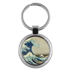The Classic Japanese Great Wave Off Kanagawa By Hokusai Key Chains (round)  by PodArtist