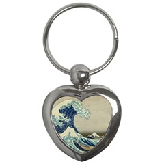 The Classic Japanese Great Wave Off Kanagawa By Hokusai Key Chains (heart)  by PodArtist