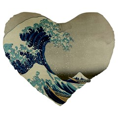 The Classic Japanese Great Wave Off Kanagawa By Hokusai Large 19  Premium Heart Shape Cushions by PodArtist