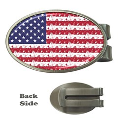 Usa Flag Halloween Holiday Nightmare Stripes Money Clips (oval)  by PodArtist