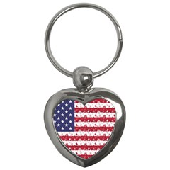 Usa Flag Halloween Holiday Nightmare Stripes Key Chains (heart)  by PodArtist