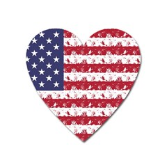Usa Flag Halloween Holiday Nightmare Stripes Heart Magnet by PodArtist