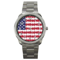 Usa Flag Halloween Holiday Nightmare Stripes Sport Metal Watch by PodArtist