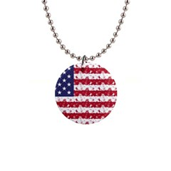 Usa Flag Halloween Holiday Nightmare Stripes Button Necklaces