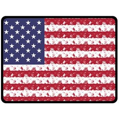 Usa Flag Halloween Holiday Nightmare Stripes Fleece Blanket (large)  by PodArtist