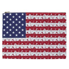 Usa Flag Halloween Holiday Nightmare Stripes Cosmetic Bag (xxl) by PodArtist