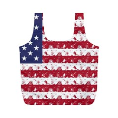 Usa Flag Halloween Holiday Nightmare Stripes Full Print Recycle Bag (m) by PodArtist