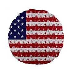 Usa Flag Halloween Holiday Nightmare Stripes Standard 15  Premium Flano Round Cushions by PodArtist