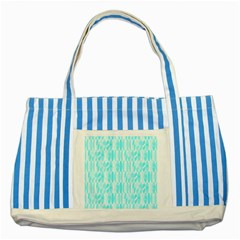 Aqua Blue Colored Waikiki Surfboards  Striped Blue Tote Bag by PodArtist