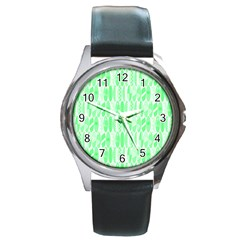 Bright Lime Green Colored Waikiki Surfboards  Round Metal Watch