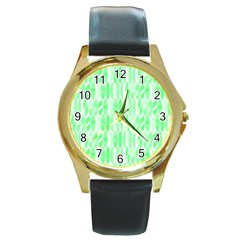 Bright Lime Green Colored Waikiki Surfboards  Round Gold Metal Watch by PodArtist