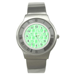 Bright Lime Green Colored Waikiki Surfboards  Stainless Steel Watch by PodArtist