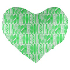 Bright Lime Green Colored Waikiki Surfboards  Large 19  Premium Heart Shape Cushions by PodArtist