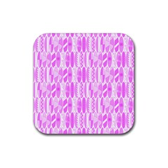 Bright Pink Colored Waikiki Surfboards  Rubber Coaster (square)  by PodArtist