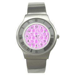 Bright Pink Colored Waikiki Surfboards  Stainless Steel Watch by PodArtist