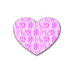 Bright Pink Colored Waikiki Surfboards  Heart Coaster (4 Pack)  by PodArtist