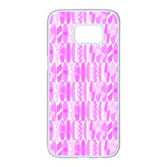 Bright Pink Colored Waikiki Surfboards  Samsung Galaxy S7 Edge White Seamless Case by PodArtist