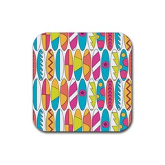 Mini Rainbow Colored Waikiki Surfboards  Rubber Coaster (square)  by PodArtist