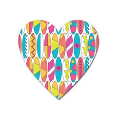 Mini Rainbow Colored Waikiki Surfboards  Heart Magnet by PodArtist