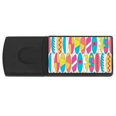 Mini Rainbow Colored Waikiki Surfboards  Rectangular Usb Flash Drive by PodArtist