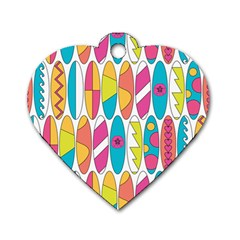 Mini Rainbow Colored Waikiki Surfboards  Dog Tag Heart (one Side) by PodArtist
