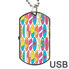 Mini Rainbow Colored Waikiki Surfboards  Dog Tag Usb Flash (two Sides) by PodArtist