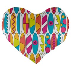 Mini Rainbow Colored Waikiki Surfboards  Large 19  Premium Heart Shape Cushions by PodArtist