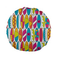 Mini Rainbow Colored Waikiki Surfboards  Standard 15  Premium Flano Round Cushions by PodArtist