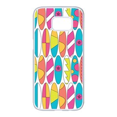 Mini Rainbow Colored Waikiki Surfboards  Samsung Galaxy S7 Edge White Seamless Case by PodArtist