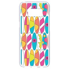 Mini Rainbow Colored Waikiki Surfboards  Samsung Galaxy S8 White Seamless Case by PodArtist