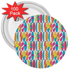 Rainbow Colored Waikiki Surfboards  3  Buttons (100 Pack)  by PodArtist