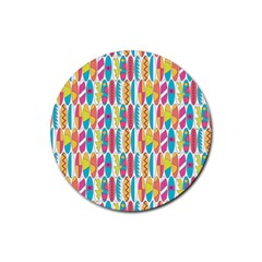 Rainbow Colored Waikiki Surfboards  Rubber Coaster (round)