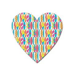 Rainbow Colored Waikiki Surfboards  Heart Magnet by PodArtist