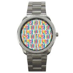 Rainbow Colored Waikiki Surfboards  Sport Metal Watch by PodArtist