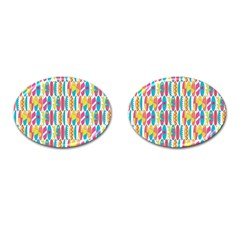 Rainbow Colored Waikiki Surfboards  Cufflinks (oval) by PodArtist