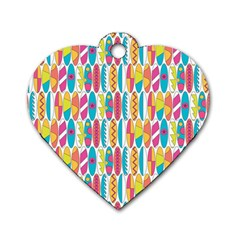 Rainbow Colored Waikiki Surfboards  Dog Tag Heart (two Sides) by PodArtist