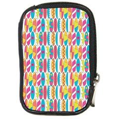 Rainbow Colored Waikiki Surfboards  Compact Camera Leather Case by PodArtist