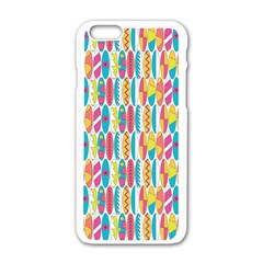 Rainbow Colored Waikiki Surfboards  Apple Iphone 6/6s White Enamel Case by PodArtist