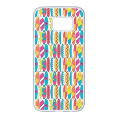 Rainbow Colored Waikiki Surfboards  Samsung Galaxy S7 Edge White Seamless Case by PodArtist