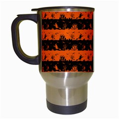 Orange And Black Spooky Halloween Nightmare Stripes Travel Mugs (white) by PodArtist