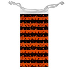 Orange And Black Spooky Halloween Nightmare Stripes Jewelry Bag