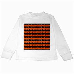 Orange And Black Spooky Halloween Nightmare Stripes Kids Long Sleeve T Shirts