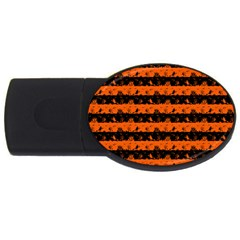 Orange And Black Spooky Halloween Nightmare Stripes Usb Flash Drive Oval (4 Gb) by PodArtist