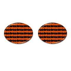 Orange And Black Spooky Halloween Nightmare Stripes Cufflinks (oval)